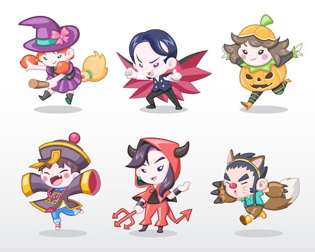Netter stilsatz von kindern im halloween-kostüm