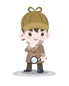 Netter stilvoller kleiner selbstbewusster detektiv mit lupenkarikatur