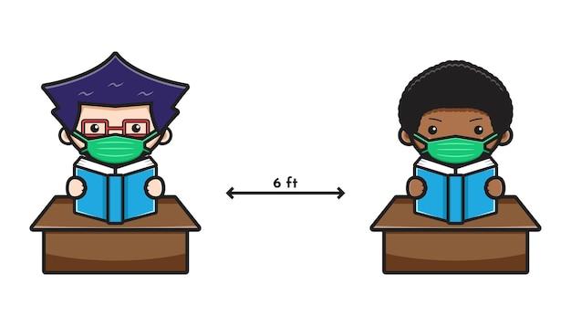 Netter student zurück zur schule neue normale cartoon-symbol-vektor-illustration. design isoliert auf weißem flachen cartoon-stil.