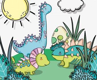 Netter Styracosaurus mit Ankylosaurus- und Diplodocus-Tieren