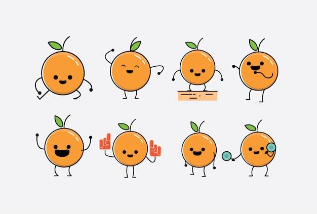 Netter süßer kleiner orange charakter-aufkleber-satz mit mehrfachen ausdrücken