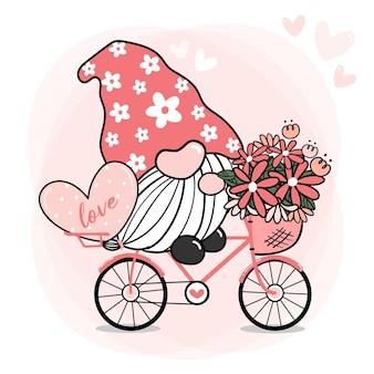 Netter süßer rosa gnom-valentinstag auf fahrrad mit blume und herz, karikatur, gnom in der liebe auf fahrrad