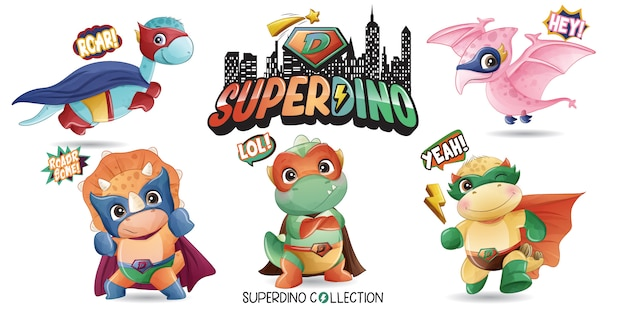 Netter superdinosaurier mit aquarellillustration Premium Vektoren
