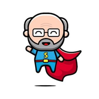 Netter superheld, der karikaturillustration fliegt