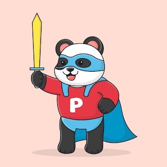 Netter superpanda, der eine maske trägt und schwert hält