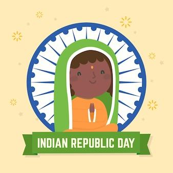 Netter tag der indischen republik des smileymädchens