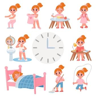 Netter tagesablaufplan für kleine schulmädchen. cartoon-kinderaktivität, bewegung, kleidung, zähneputzen und hausarbeit. tägliche vektorgrafik für kinder