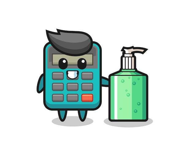 Netter taschenrechner-cartoon mit händedesinfektionsmittel, süßes design für t-shirt, aufkleber, logo-element