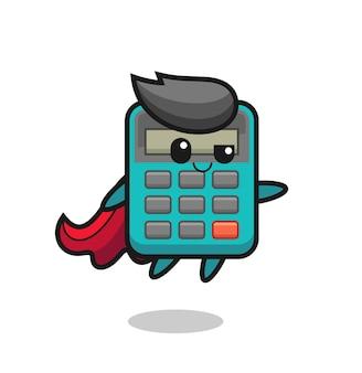 Netter taschenrechner-superheld-charakter fliegt, süßes stildesign für t-shirt, aufkleber, logo-element
