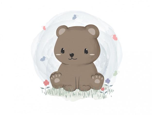 Netter teddybär, der auf graspastellaquarell-karikaturtapete sitzt