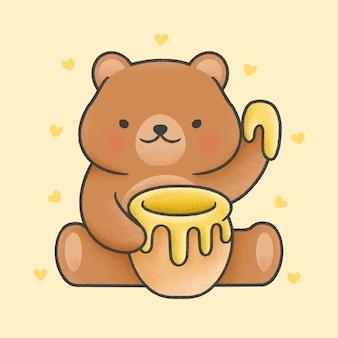 Netter teddybär, der gezeichnete art der honigglas-karikatur hand hält