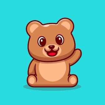 Netter teddybär, der hand cartoon icon illustration winkt.