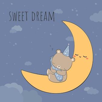 Netter teddybär, der polster beim schlafen auf dem mond mit süßem traumzitat-cartoon-gekritzelkarte umarmt