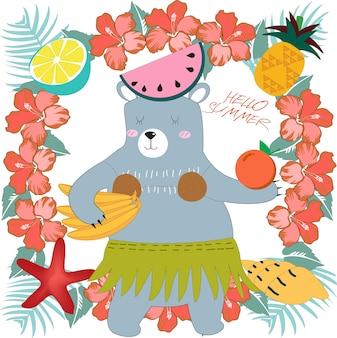 Netter teddybär in der karikatur des sommers des sonnigen tages