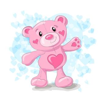 Netter teddybär mit herzkarikatur.