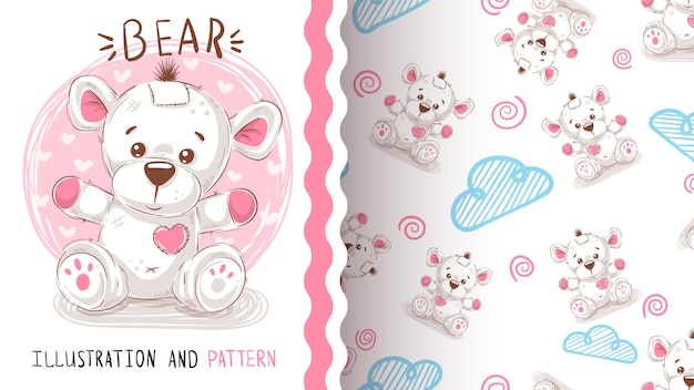 Netter teddybär - nahtloses muster