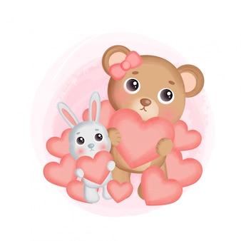 Netter teddybär und ein kaninchen, das herz hält.