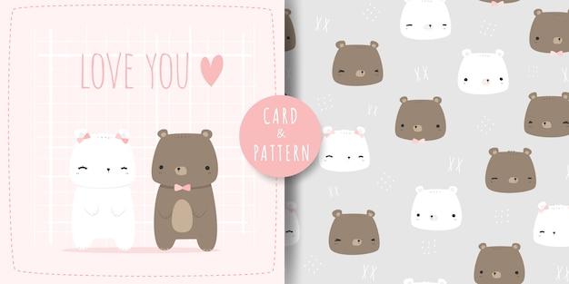Netter teddybär und polare paarkarikatur kritzeln nahtloses muster und karte