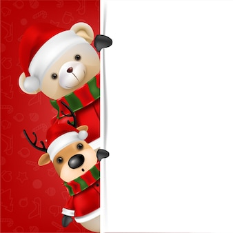 Netter teddybär und rentier tragen weihnachtsmann auf rotem hintergrund für frohe weihnachten und glückliche neujahrskartenillustration