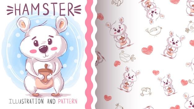 Netter teddybärhamster - nahtloses muster