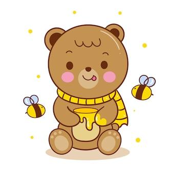 Netter teddybärvektor, der honigtopfkarikatur hält