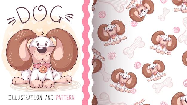 Netter teddyhund - nahtloses muster Premium Vektoren