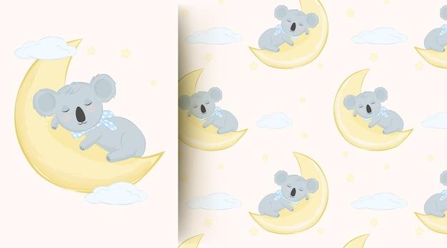 Netter tierbaby-koala, der auf dem nahtlosen muster des mondes schläft