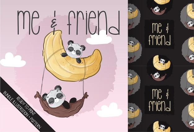 Netter tierbabypanda, der auf dem nahtlosen muster des mondes schläft