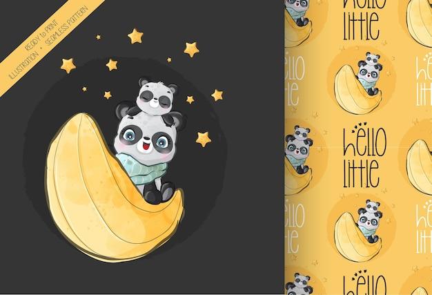 Netter tierbabypanda glücklich auf dem nahtlosen muster des mondes