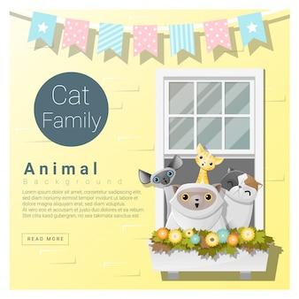 Netter tierfamilienhintergrund mit katzen