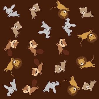 Netter tiergruppen-musterhintergrund