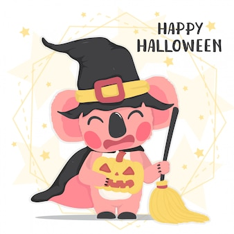 Netter tierischer glücklicher rosa koala im halloween-hexenkostüm mit besen, glückliches halloween, flaches vektorkarikaturtier