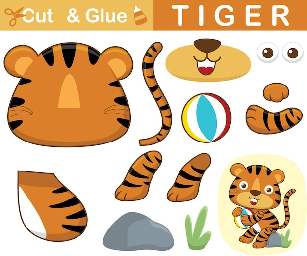 Netter tiger, der auf stein sitzt, während ball hält. bildungspapierspiel für kinder. ausschnitt und kleben. cartoon-illustration