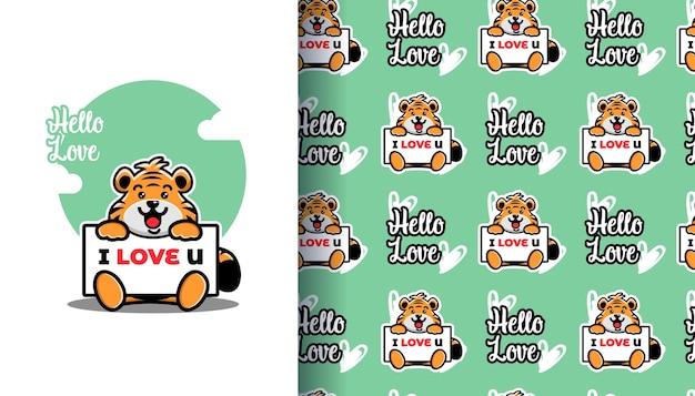 Netter tiger, der ein brett hält, ich liebe dich mit nahtlosem muster