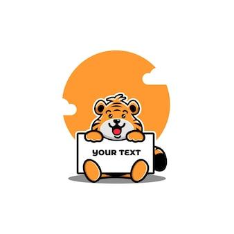 Netter tiger, der eine leere texttafel hält