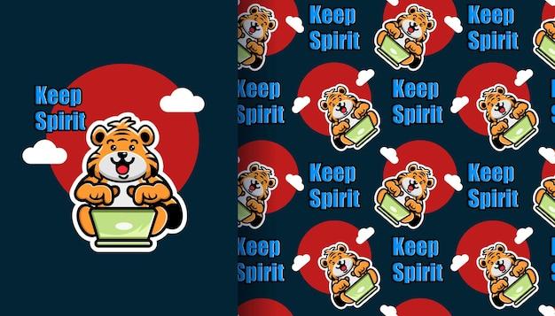 Netter tiger, der laptop-cartoon mit nahtlosem muster betreibt