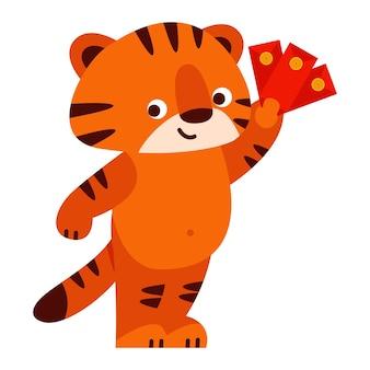 Netter tiger mit einem roten umschlag chinesisches neujahr 2022 vector illustration im cartoon-stil