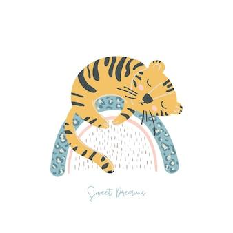 Netter tiger schläft auf regenbogen im skandinavischen stil vektor-illustration baby-tier-konzept
