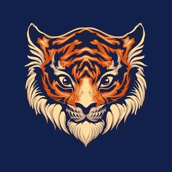 Netter tigerkopf lokalisiert auf blau