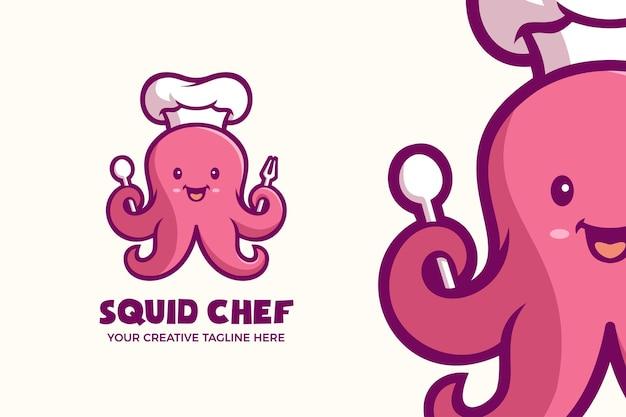 Netter tintenfisch-chef-meeresfrüchte-maskottchen-charakter-logo-vorlage