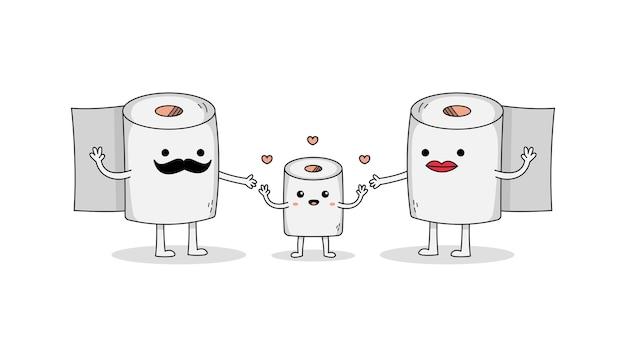 Netter toiler-papierkarikatur-zeichensatz der glücklichen familie mit vater, mutter und ihrem kind