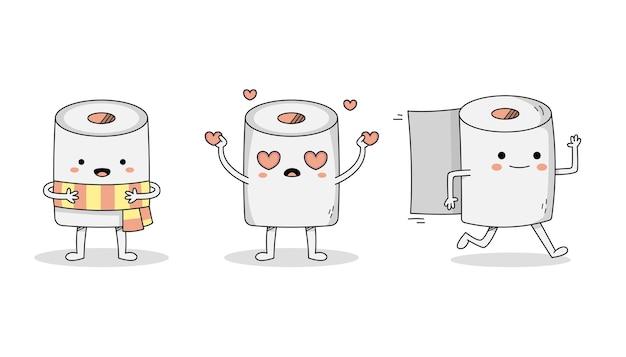 Netter toilettenpapier-cartoon-zeichensatz