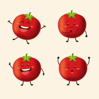 Netter tomatencharakter in mehreren posen mit lokalisiertem hintergrund