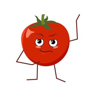 Netter tomatencharakter mit dem gesicht und den gefühlen lokalisiert auf weißem hintergrund. der lustige oder traurige held, rotes obst und gemüse. flache vektorgrafik