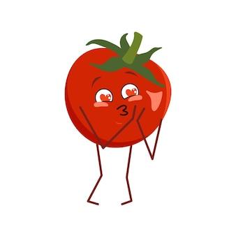 Netter tomatencharakter verliebt sich in augenherzen, die auf weißem hintergrund lokalisiert werden. der lustige oder traurige held, rotes gemüse. flache vektorgrafik