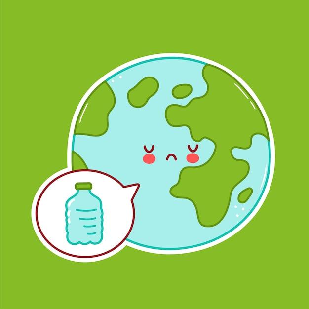Netter trauriger lustiger erdplanetencharakter und plastikflasche in der sprechblase