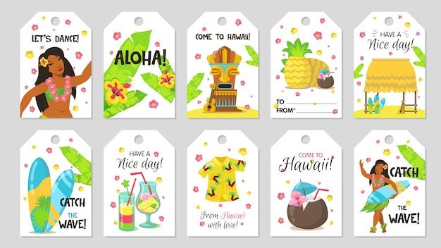 Netter tropischer tag. geschenkanhänger mit mädchen, kokosnuss, surfbrett