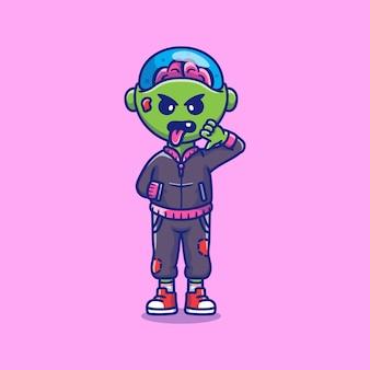 Netter und cooler böser junge-zombie