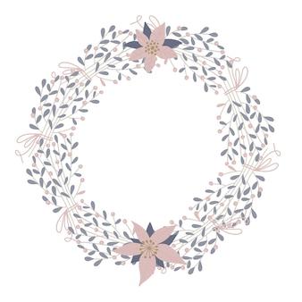 Netter und eleganter runder rahmen des blumenvektors. pastellton pflanzenkreis winterabzeichen und emblem. weihnachtskranz. flach im hygge-stil.