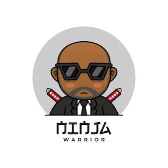Netter und kahler ninja-krieger mit smoking-logo